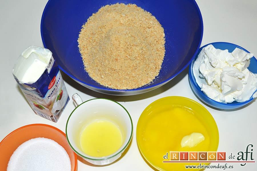 Tarta de queso con fruta fresca, preparamos los ingredientes