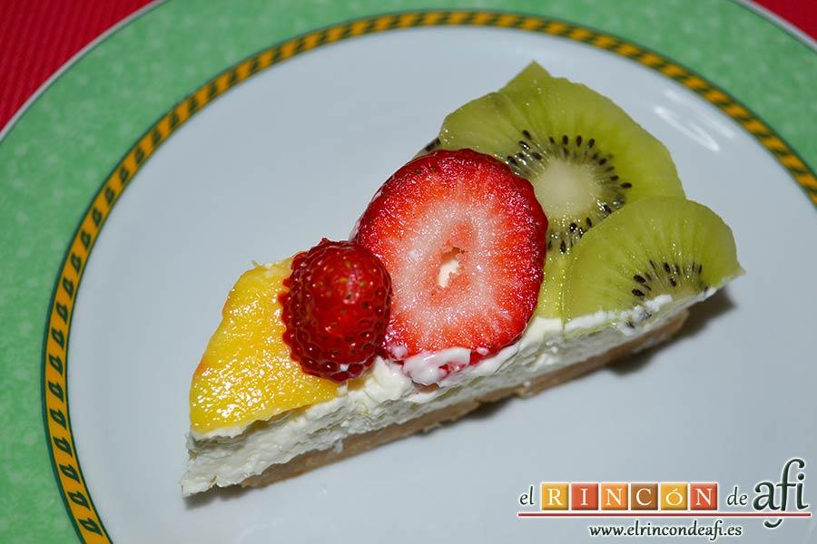 Tarta de queso con fruta fresca, sugerencia de presentación