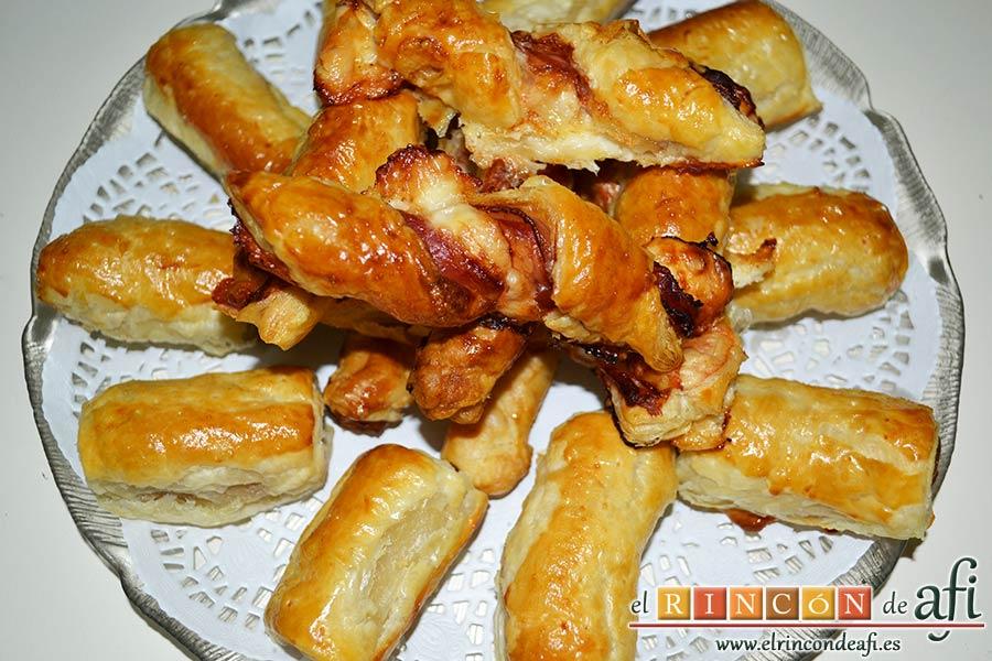 Aperitivo de hojaldre con salchichas o bacon, sugerencia de presentación