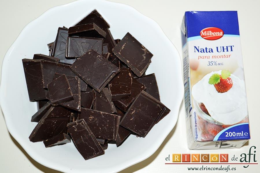 Bizcocho de chocolate esponjoso, trocear el chocolate y preparar la nata