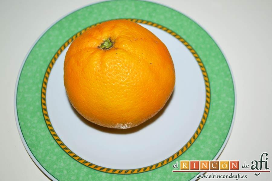Confit de pato con salsa de naranja, seleccionar la naranja para la salsa