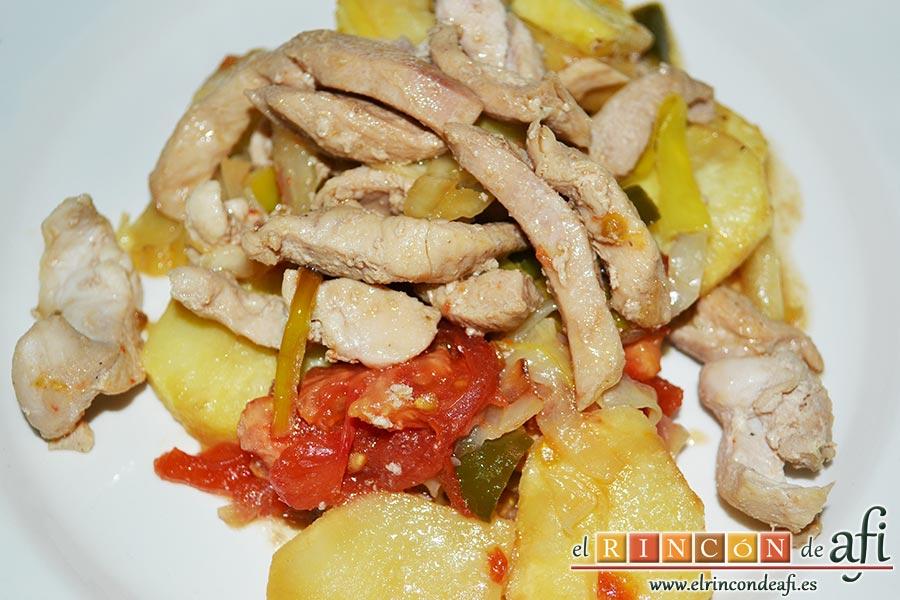 Pollo con verduras y salsa teriyaki, sugerencia de presentación