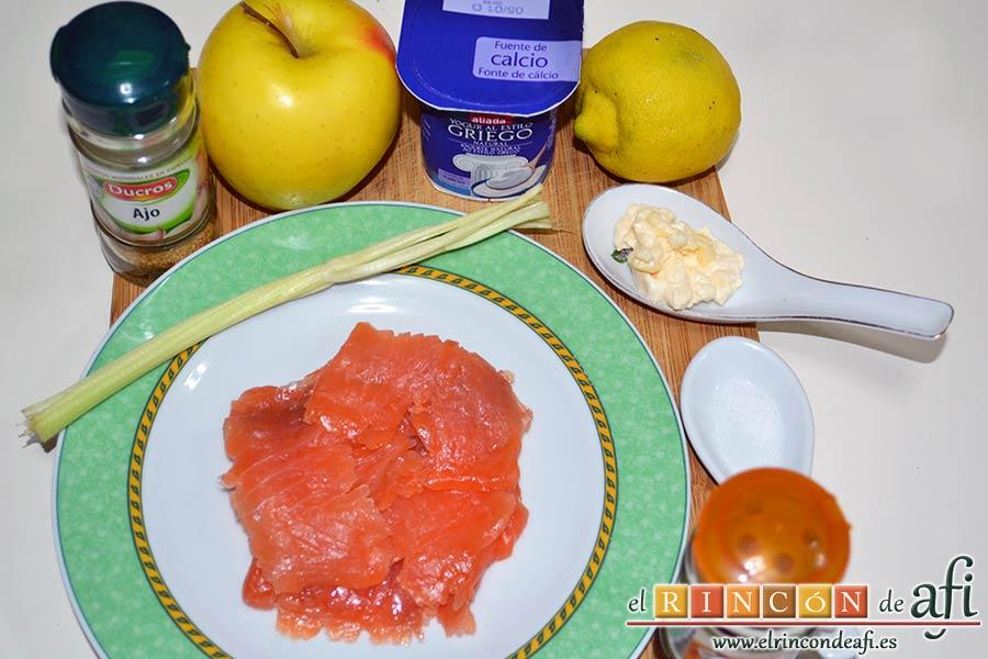 Montaditos de salmón marinado y manzana, preparar los ingredientes