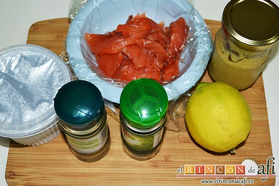 Rilletes de salmón marinado a la mostaza, preparar los ingredientes
