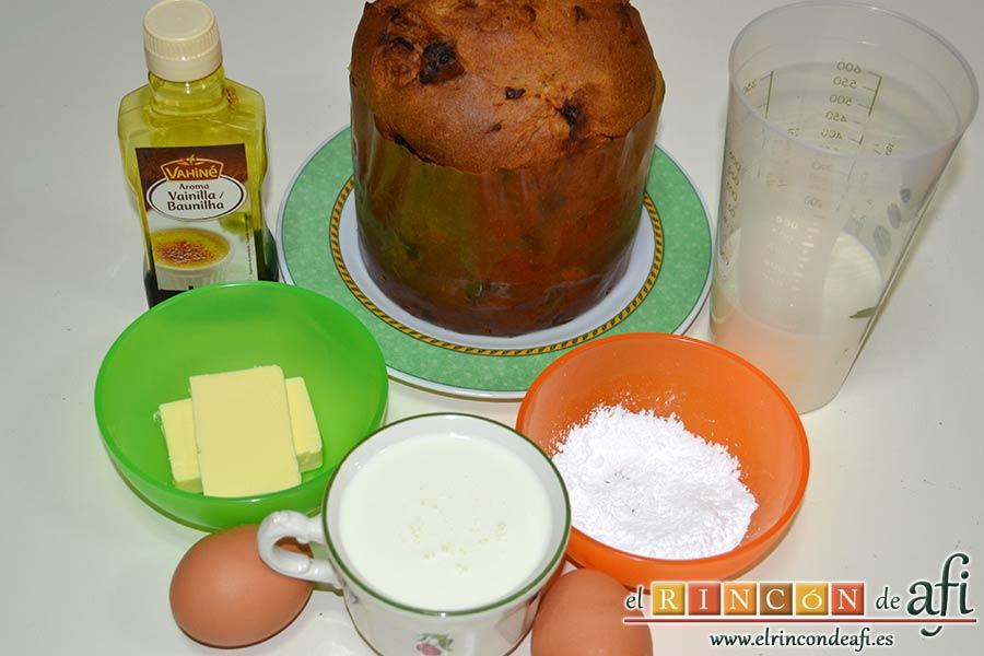 Pudin de panettone, preparar los ingredientes