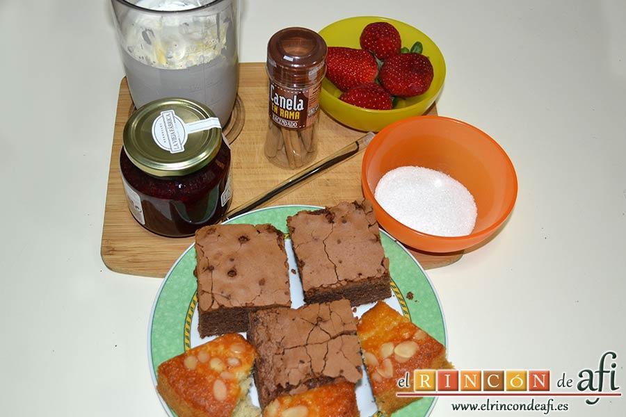 Parfait de fresas y nata, preparar los ingredientes