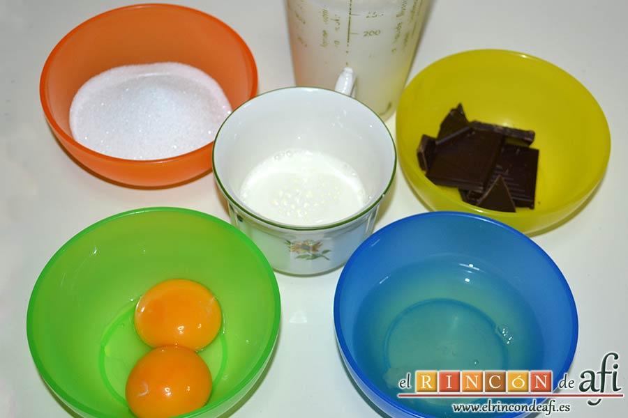 Pudin de chocolate a la Parisien, preparamos los ingredientes