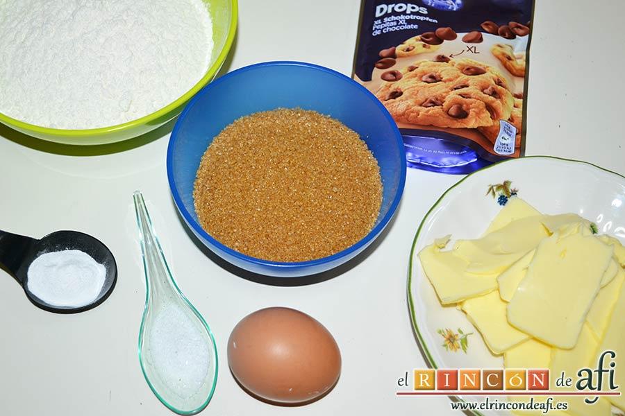 Brookies, preparar los ingredientes para la masa de cookies