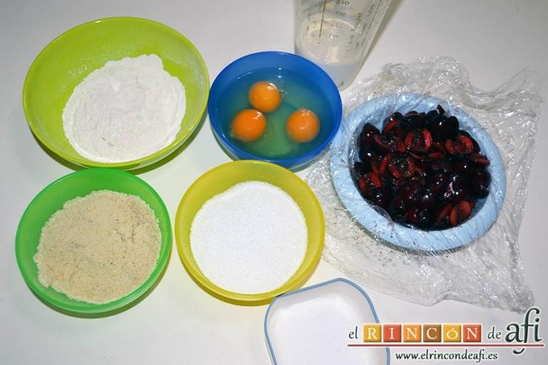 Clafoutis de cerezas, preparar los ingredientes