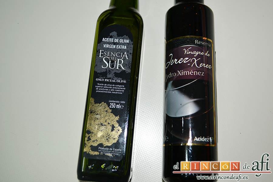 Ensalada de caracolas y confit de pato, elegir un buen vinagre y un buen aceite de oliva