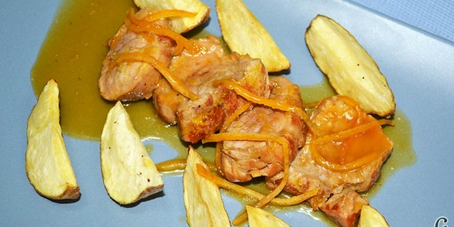 Solomillo de cerdo en salsa de naranjas y jengibre
