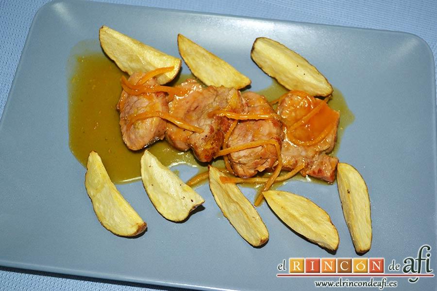 Solomillo de cerdo en salsa de naranjas y jengibre, sugerencia de presentación