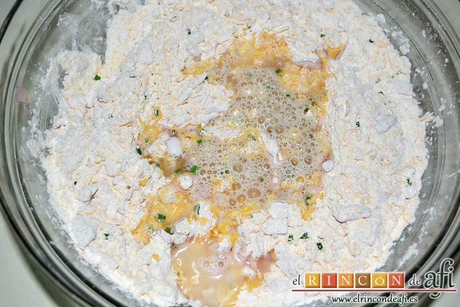 Pan de jamón, queso y cebollino del siglo XXI de Lorraine Pascale, añadirla al bol