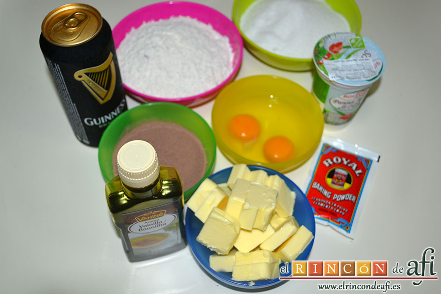 Tarta Guinness, preparar los ingredientes