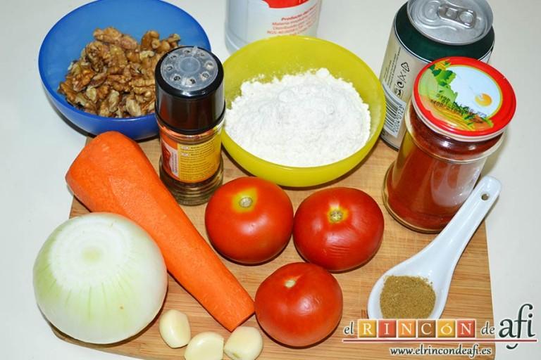 Ternera en salsa con cominos, cerveza y nueces, preparar los ingredientes