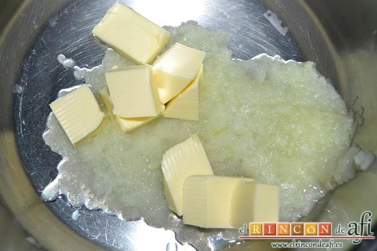 Huevos Florentina, añadir la mantequilla y dorar