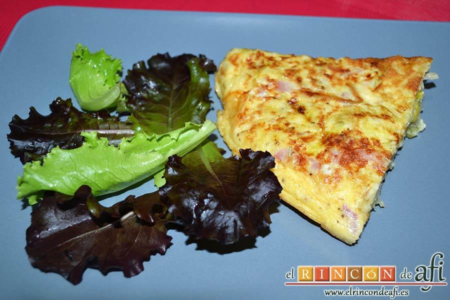 Tortilla de puerros y queso brie