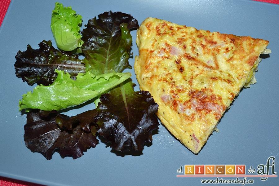 Tortilla de puerros y queso brie, sugerencia de presentación