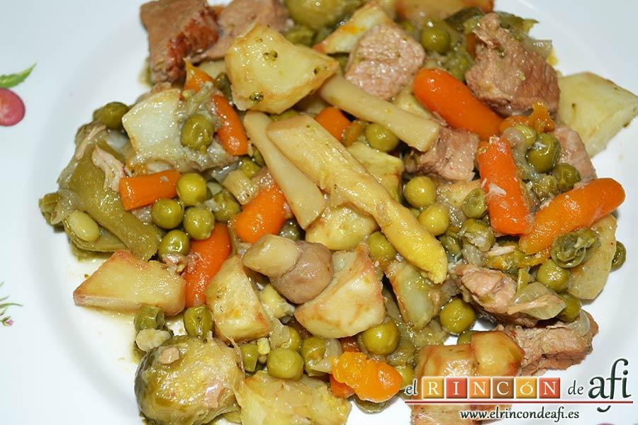 Menestra de verduras con carne de ternera, sugerencia de presentación