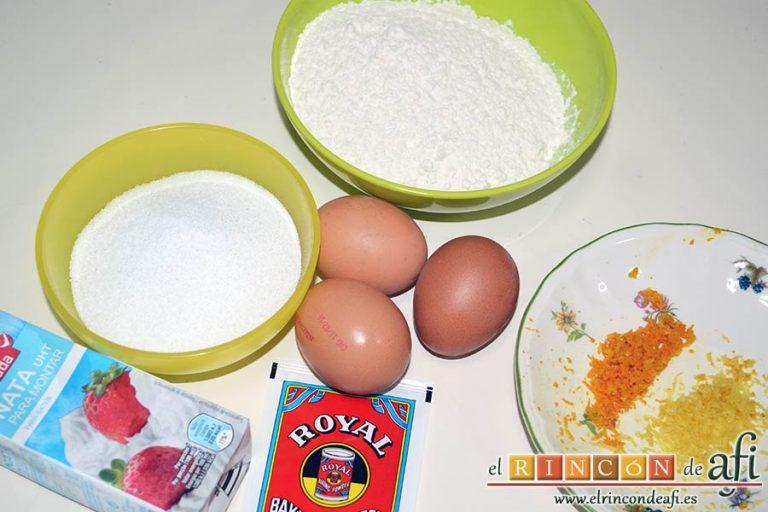 Bizcocho sin aceite ni mantequilla, preparamos los ingredientes