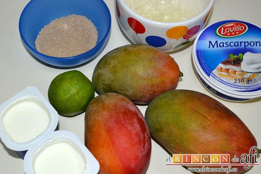 Crema de mango caramelizada, preparar los ingredientes