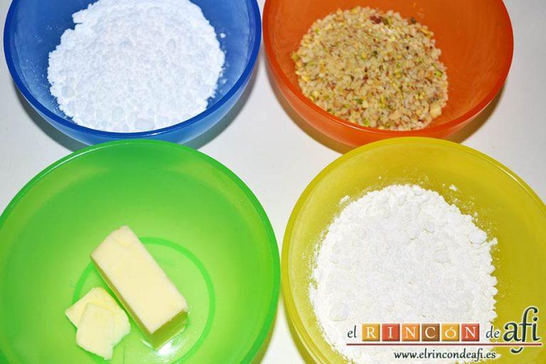 Financiers al microondas, preparar los ingredientes