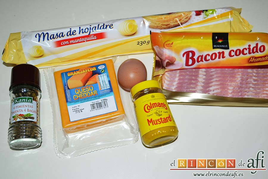Rizos de bacon y queso cheddar curado de Lorraine Pascale, preparar los ingredientes