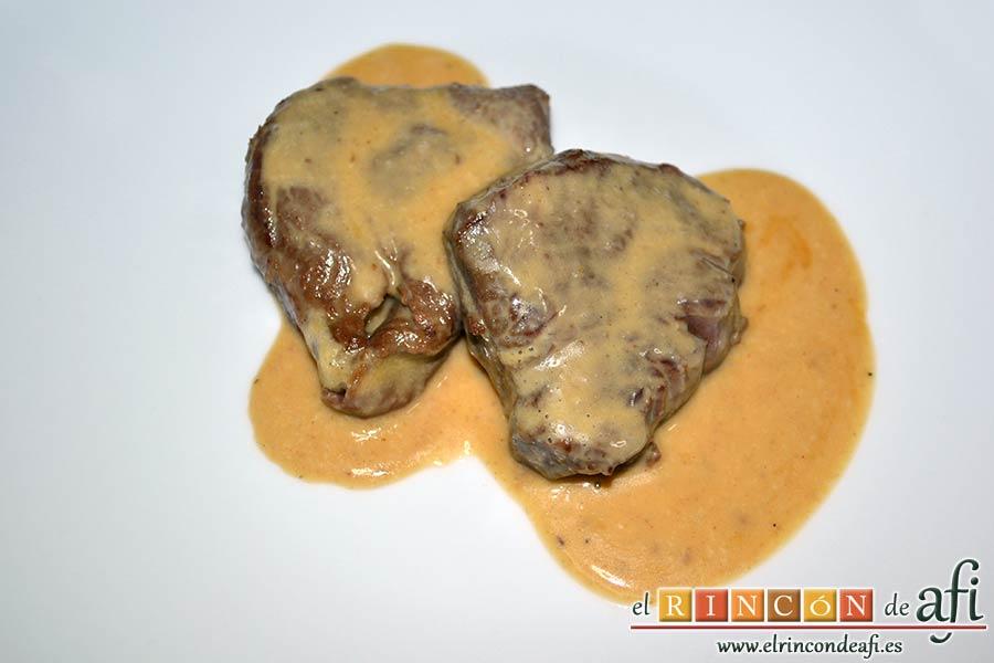 Solomillo de ternera con salsa de mostaza y miel, sugerencia de presentación