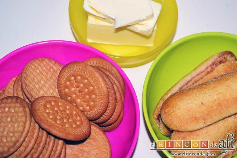 Tarta de quesos con mermelada de frutos rojos, preparar los ingredientes de la tarta