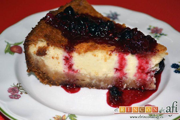 Tarta de quesos con mermelada de frutos rojos, sugerencia de presentación