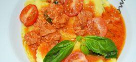 Pasta fresca al huevo con salsa de chorizo