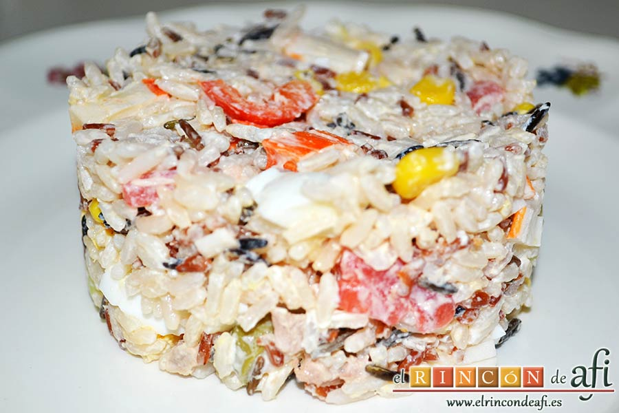 Ensalada de arroz de tres colores