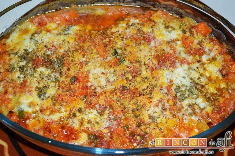 Lasaña de verduras con mozzarella fresca, sugerencia de presentación