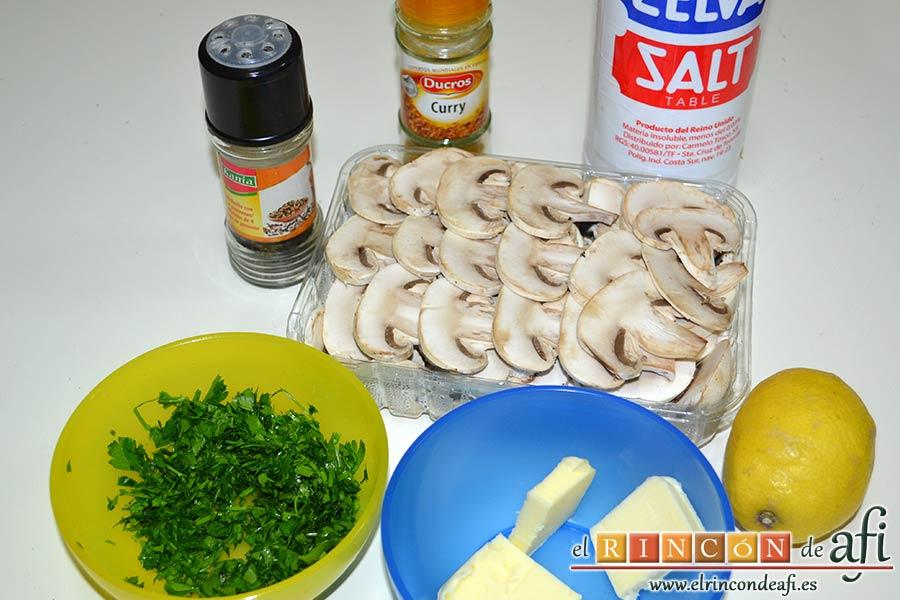 Muslos de pollo al curry con leche de coco y champiñones salteados, preparar los ingredientes