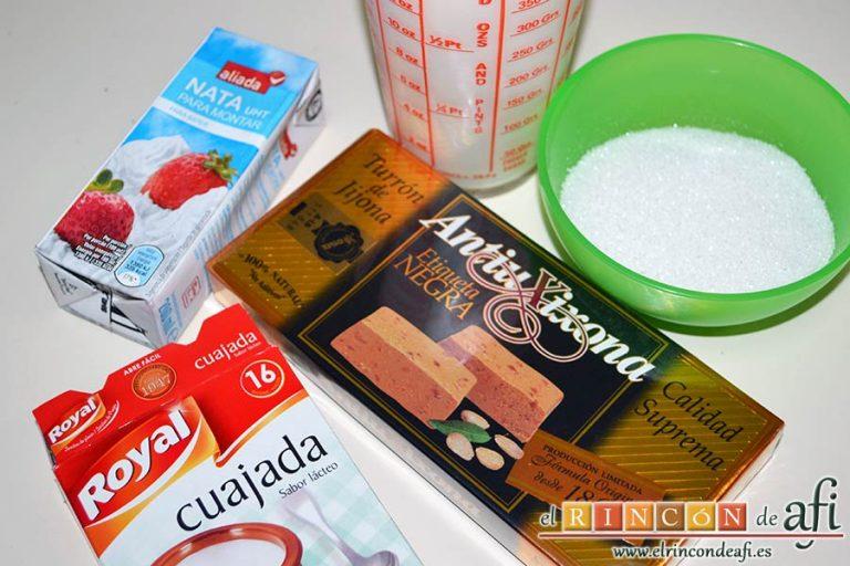 Flan de turrón, preparar los ingredientes