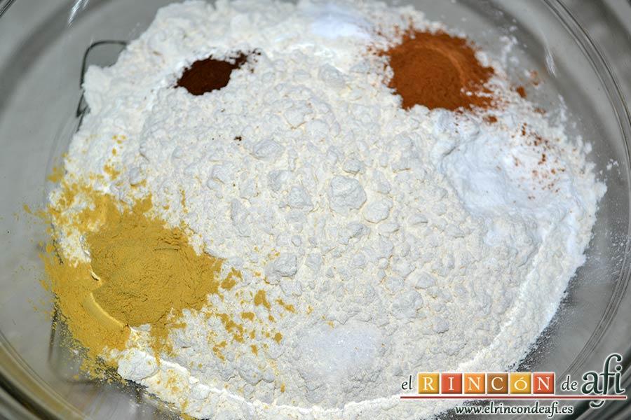 Galletas de jengibre y canela, poner en un bol los ingredientes secos