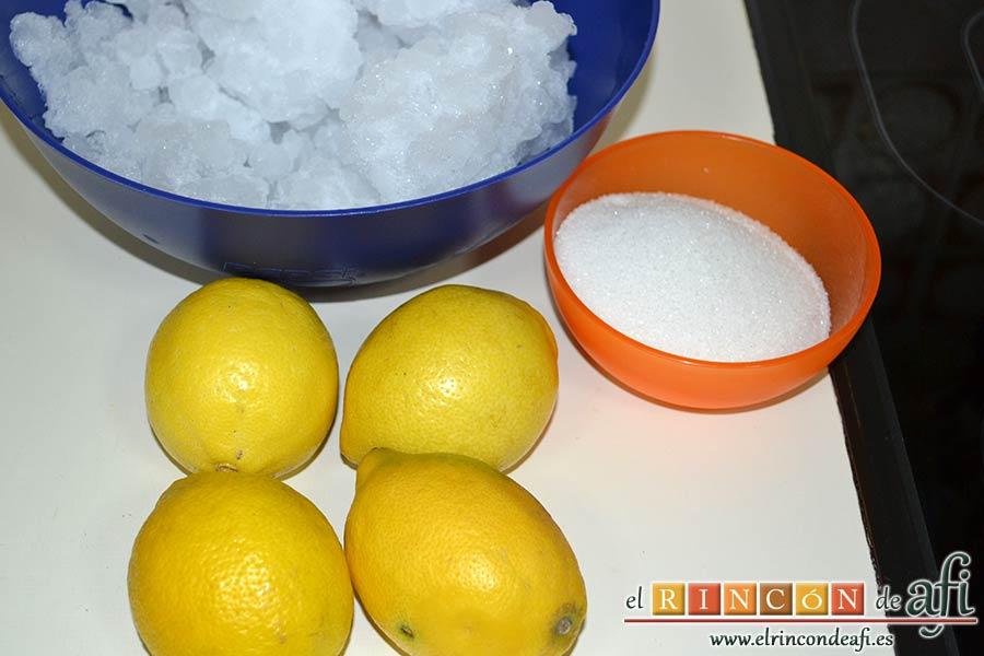 Granizado de limón, preparar los ingredientes