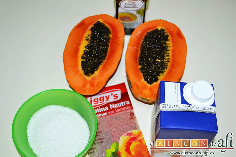 Panacota de papaya, preparar los ingredientes