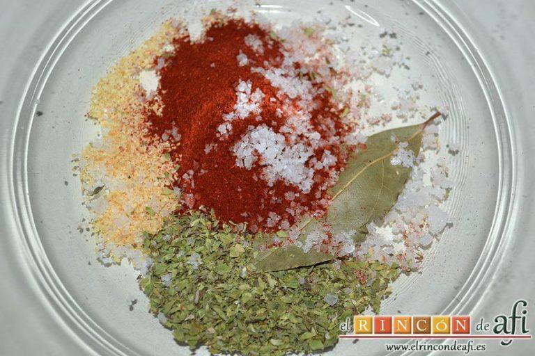 Secreto ibérico marinado con champiñones salteados con mostaza de Dijon y nata, poner en un bol los ingredientes para el marinado