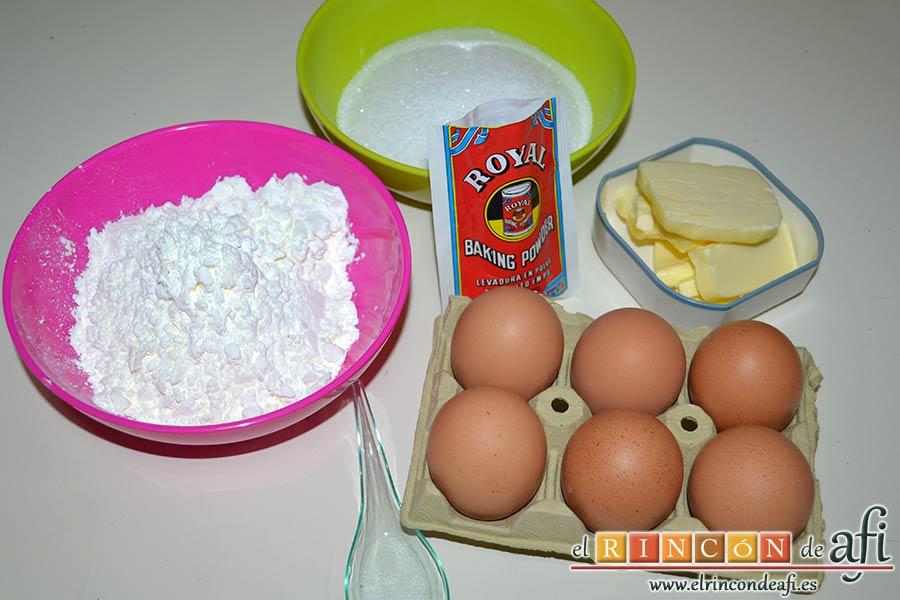 Bizcocho de castañas, preparar el resto de ingredientes