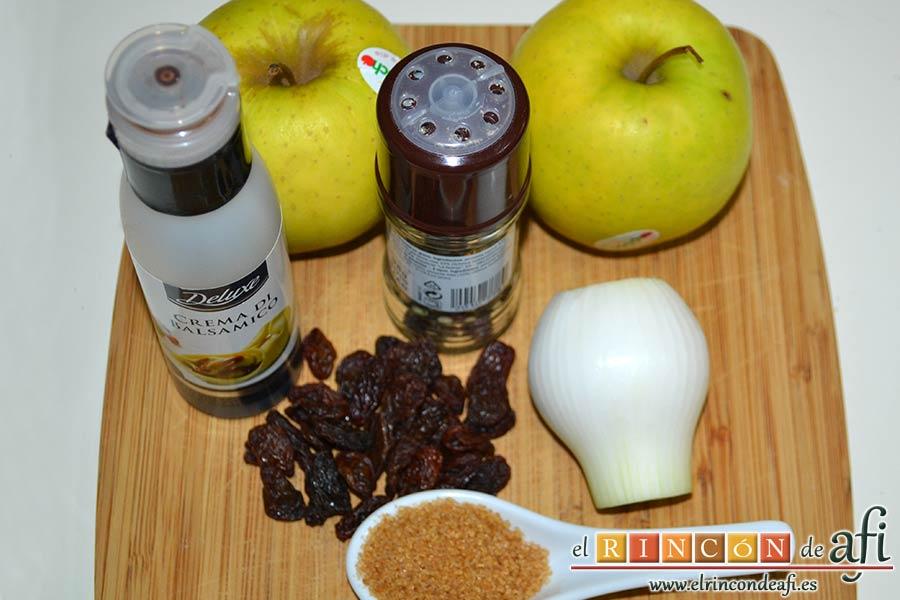 Pato crujiente con chutney de manzanas y pasas, preparar los ingredientes