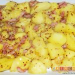 Manzanas y plátanos caramelizados con mostaza antigua y bacon