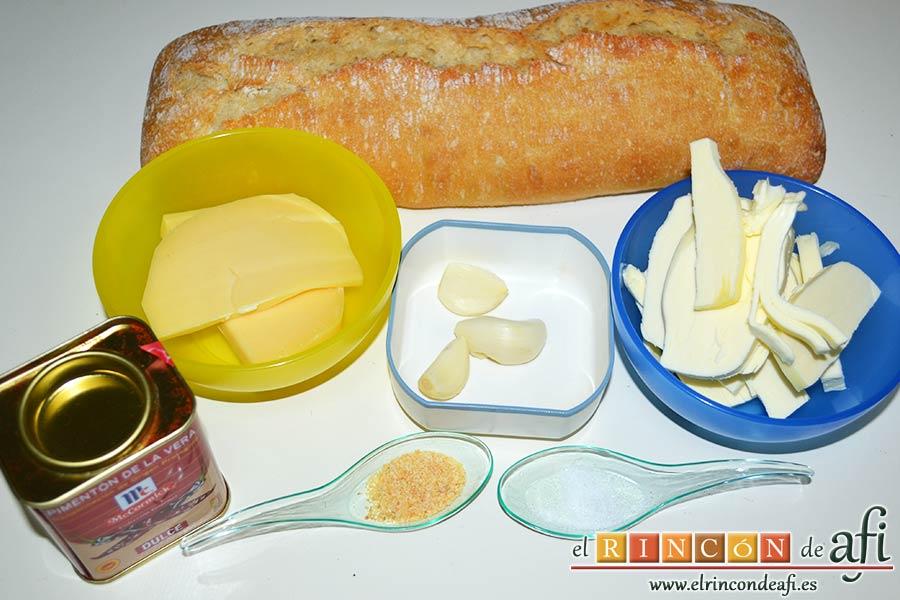 Pan de ajo gratinado, preparamos los ingredientes