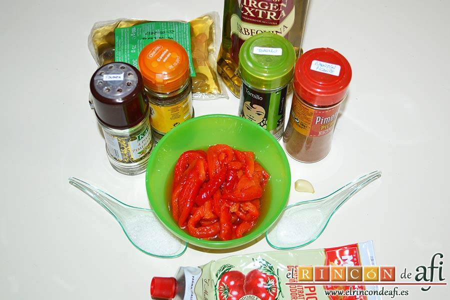 Rollitos de hojaldre rellenos de crema de pimientos y salchichas frescas, preparar los ingredientes