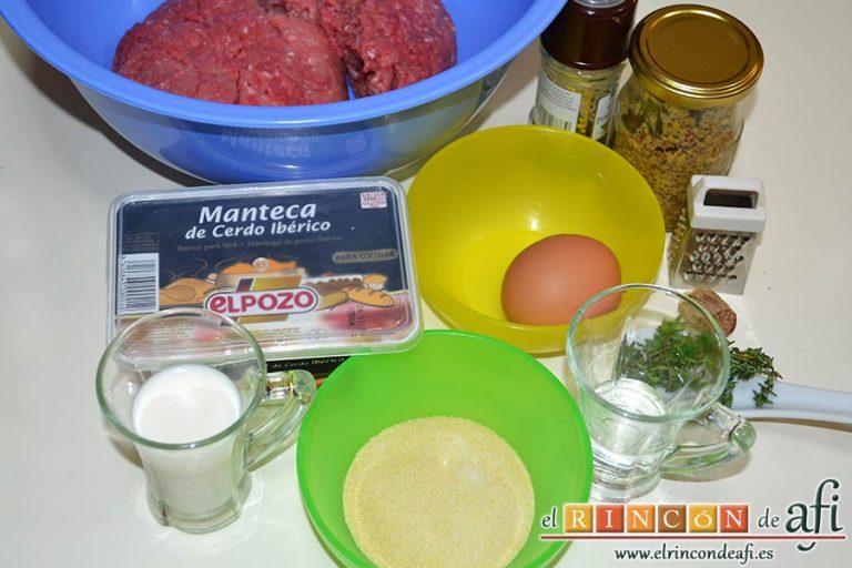 Frikadellen, hamburguesas alemanas especiadas, preparar los ingredientes