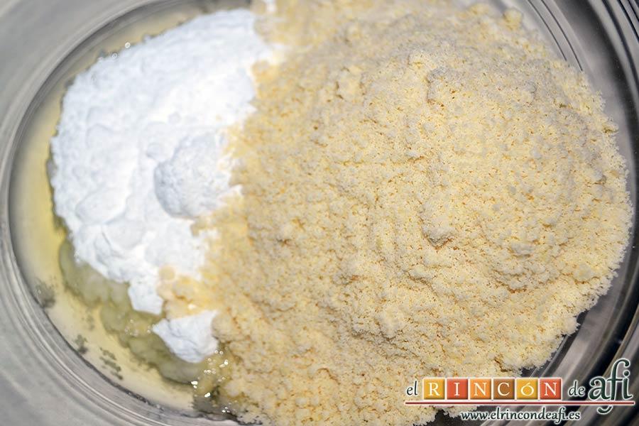 Macaroons de Lorraine Pascale, añadir el azúcar glass y las almendras molidas