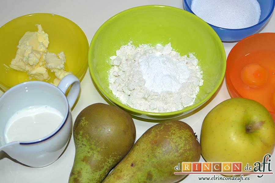 Pastel de pera y manzana, preparar los ingredientes