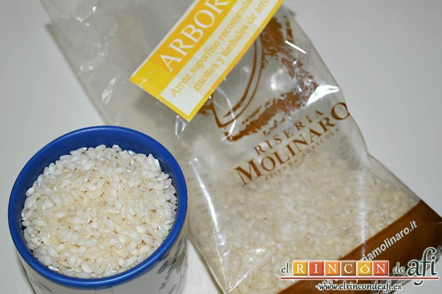 Risotto carbonara, usar un arroz Arborio