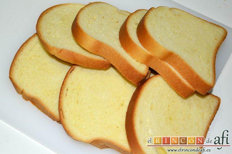 Tostadas francesas en taza, no usar las tapas del pan de molde de brioche