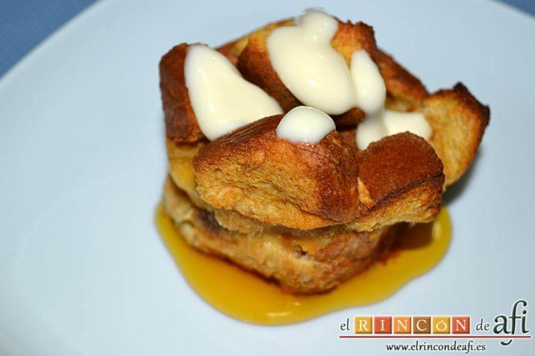 Tostadas francesas en taza, sugerencia de presentación